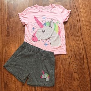 BUTTER Set*7/8*T-Shirt + Shorts Sequined Unicorn